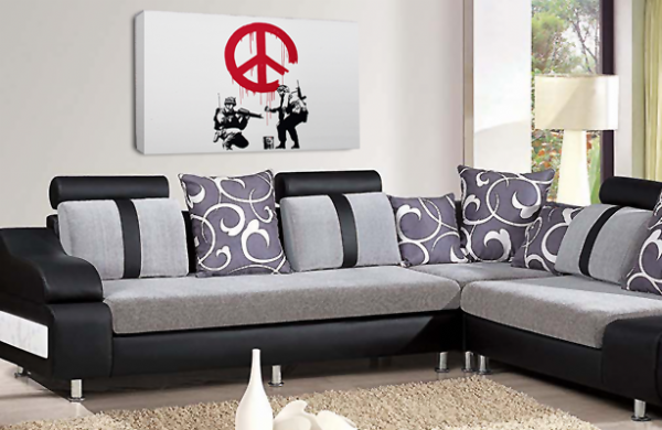 Banksy Art CND Soldiers Canvas Wall Art Peace Love Picture
